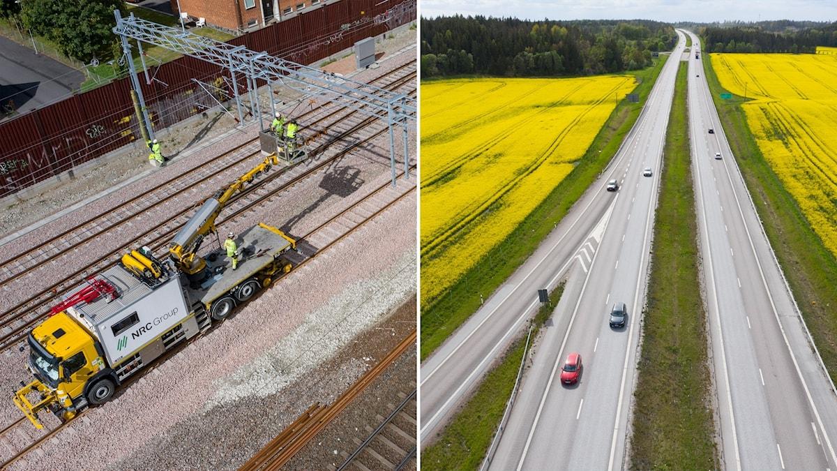 Delad bild: Järnvägsspår som repareras, motorväg över rapsfält.