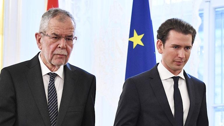 President Alexander Van Der Bellen och förbundskansler Sebastian Kurz.