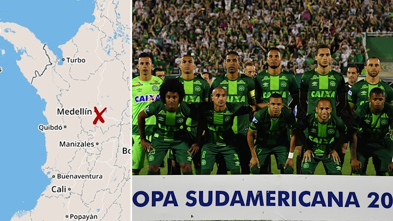 Brasilianskt fotbollslag i flygkrasch i Colombia Foto: TT