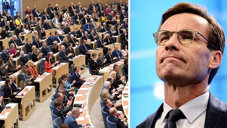 Bild på riksdagen och på moderaternas partiledare Ulf Kristersson.