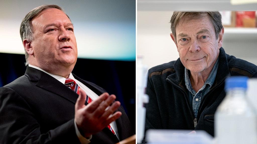 USA:s utrikesminister Mike Pompeo och Tomas Bergström, professor i klinisk mikrobiologi.