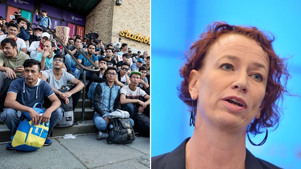 Bild från i somras när ensamkommande demonstrerade mot utvisningar till Afghanistan och en bild på Vänsterpartiets migrationspolitiska talesperson Christina Höj Larsen.