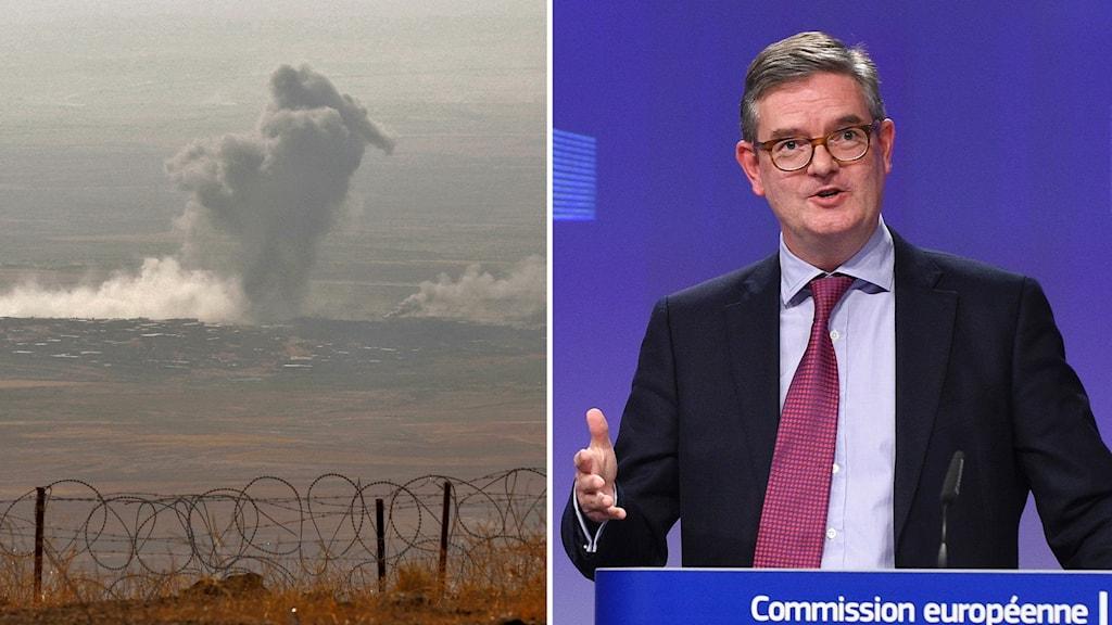 Bildmontage av EU-kommissionär Julian King och ett rökmoln från en operation mot IS-krigare i staden Nineveh i Irak.