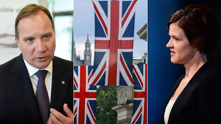 Statsminister Stefan Löfven, brittiska flaggan, Moderatledaren Anna Kinberg Batra