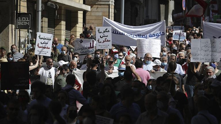 Protester i Beirut.