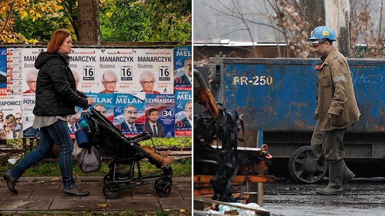 Delad bild: mamma med barnvagn framför valaffischer, kolgruvearbetare går framför en kolvagn.