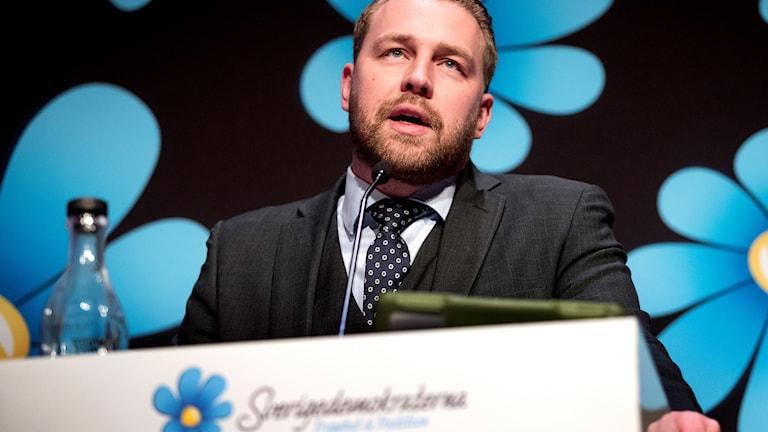 Visst finns det anledning att vara arg, sa gruppledaren Mattias Karlsson i sitt anförande på Landsdagarna i Norrköping den 24 november 2017.