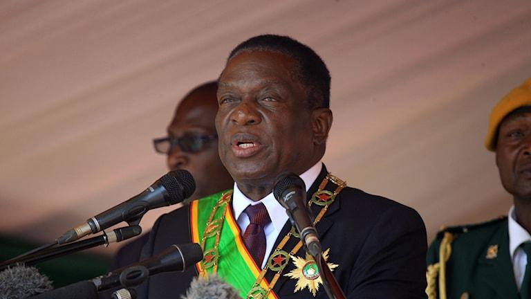 Emmerson Mnangagwa håller tal.