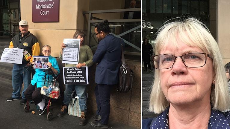 Sveriges Radios korrespondent Margita Boström utanför domstolen i Melbourne.