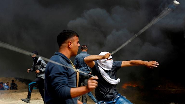 Demonstranter på Gazasidan.