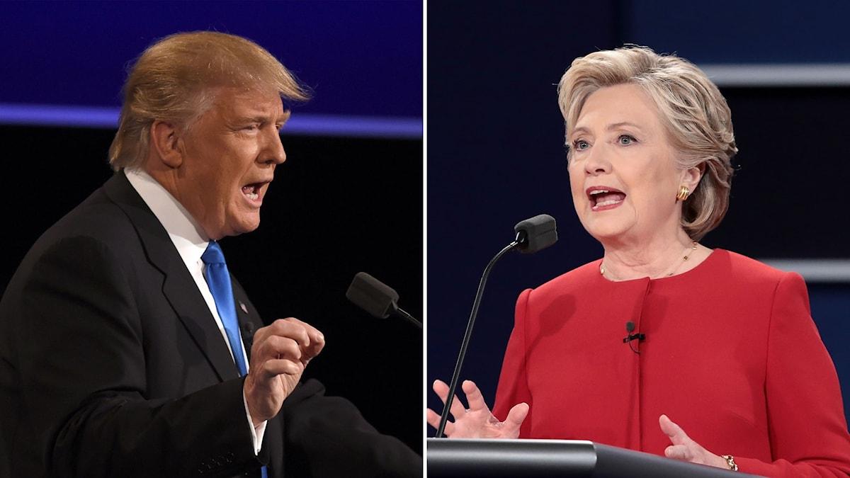 Delad bild: Trump och Clinton.