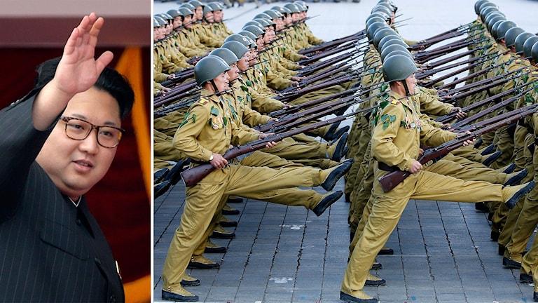 Bildmontage av Kim Jong-Un och nordkoreanska soldater som marscherar.