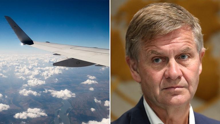 Delad bild: flygplansvinge och man framför en FN-symbol.