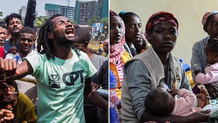 Personer som protesterar i Addis Abebba och kvinnor som flytt oroligheterna