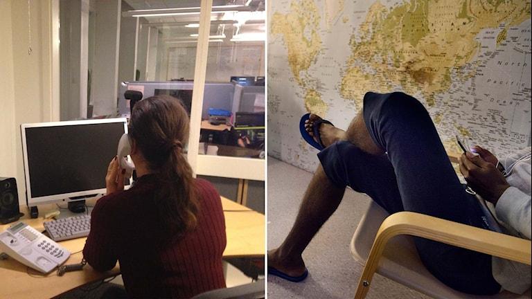 En kvinna talar i telefon, en ung man håller i en mobil.