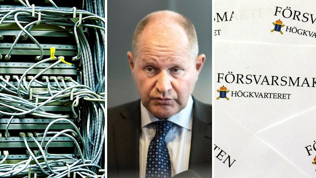Delad bild: Man som blir intervjuad och brev från Försvarets högkvarter.