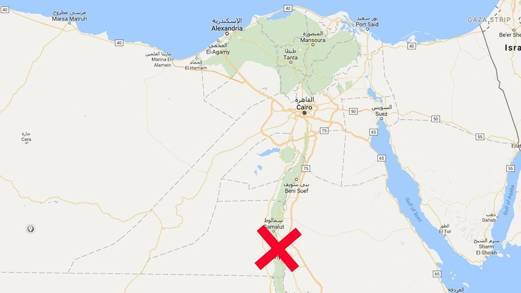 Karta med kryss över Minya i Egypten
