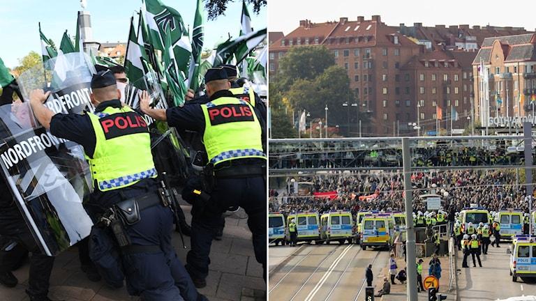 Polis motar tillbaka nazister. Översiktlig bild på motdemonstranter bakom polisbilar.