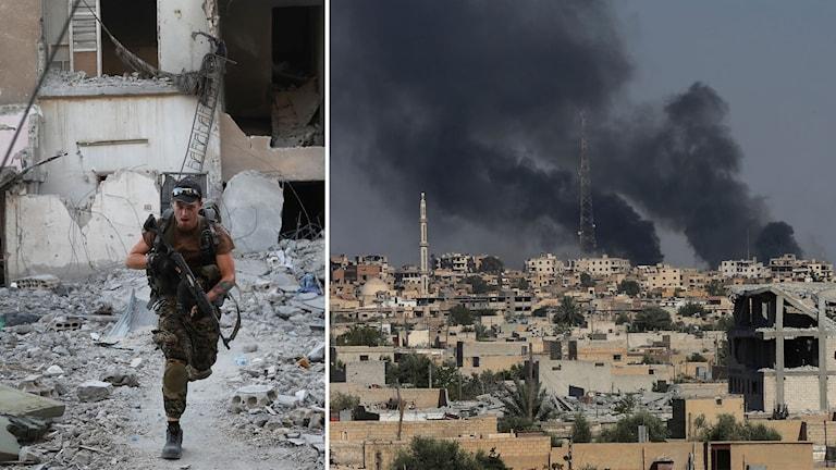 SDF-soldat och stridigheter i Raqqa, juli 2017
