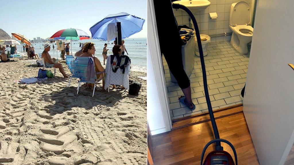 Kvinnor sitter på en strand under ett parasoll, till vänster en kvinna städar ett badrum.