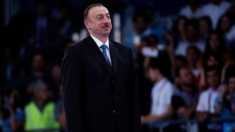 Azerbajdzjans president Ilham Alijev vid taekwondofinalen i Europeiska spelen i Baku på torsdagen.Foto: Vilhelm Stokstad / TT