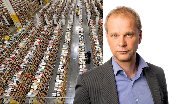 Till vänster: lager hos Amazon. Till höger: Ekots ekonomikommentator Kristian Åström.