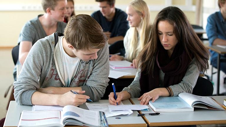 Genrebild på elever i en gymnasieskola i Oslo.