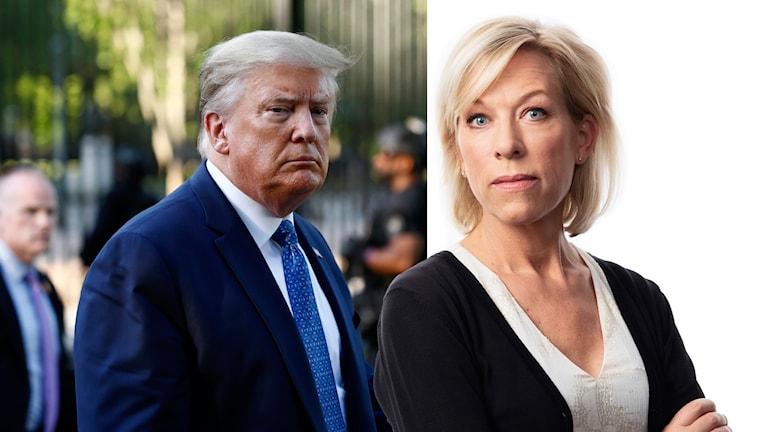 USA:s president Donald Trump och Ginna Lindberg, Ekots USA-kommentator.