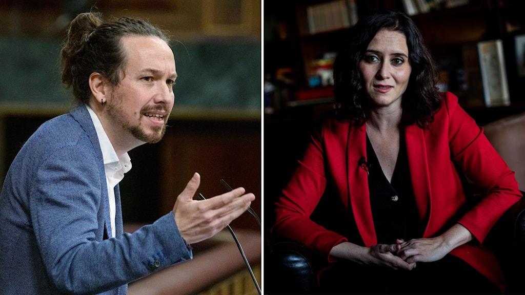 Pablo Iglesias och Isabel Diaz Ayuso