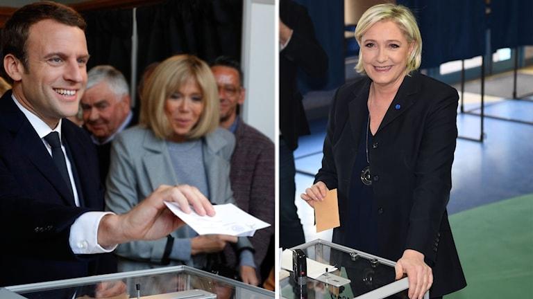 Emmanuel Macron och Marine Le Pen röstar