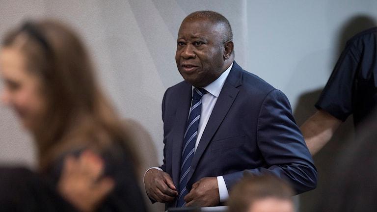 Elfenbenskustens tidigare president Laurent Gbagbo i rättssalen.
