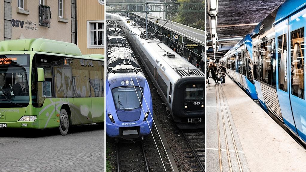 Bildsplit på en buss, två pendeltåg och ett tunnelbanetåg.