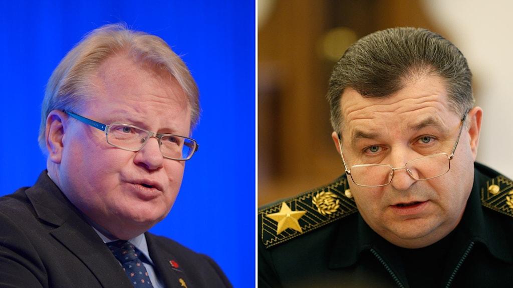 Försvarsminister Peter Hultqvist (S) och Ukrainas  försvarsminister Stepan Potorak