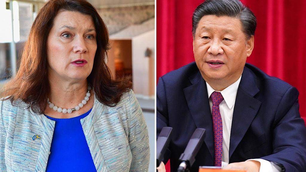 Utrikesminister Ann Linde och Kinas ledare Xi Jinping.