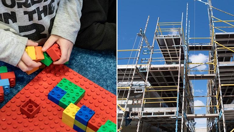 Delad bild: Barn som bygger med lego, tomma byggnadsställningar på en byggarbetsplats.
