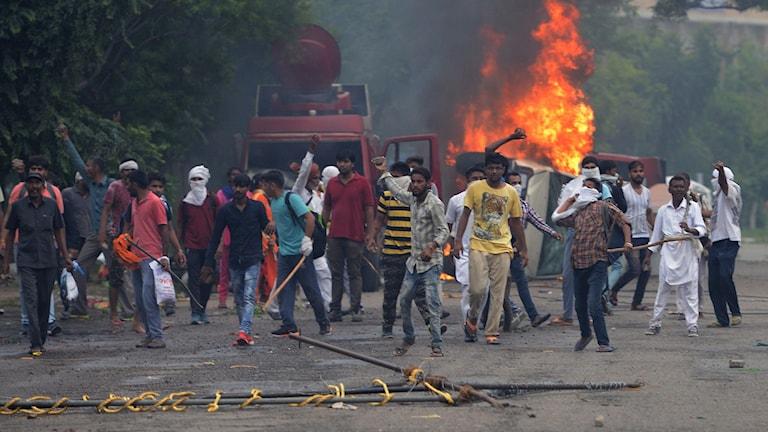 Guruns anhängare protesterar mot domen i Indien.
