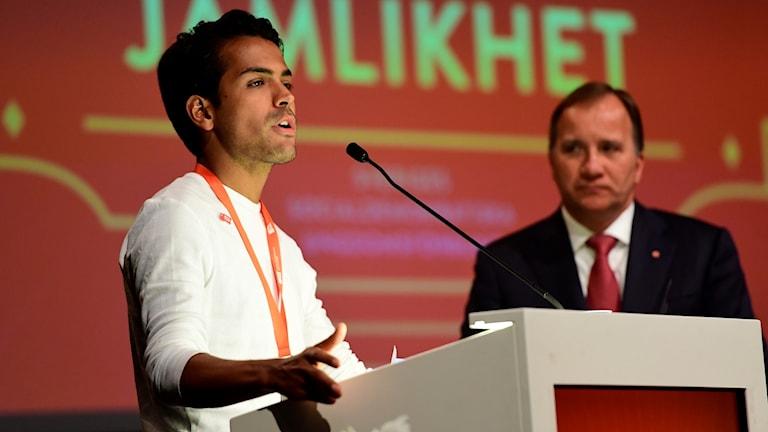 SSU:s Philip Boström talar vid SSU:s kongress i Älvsjö i Stockholm, år 2017