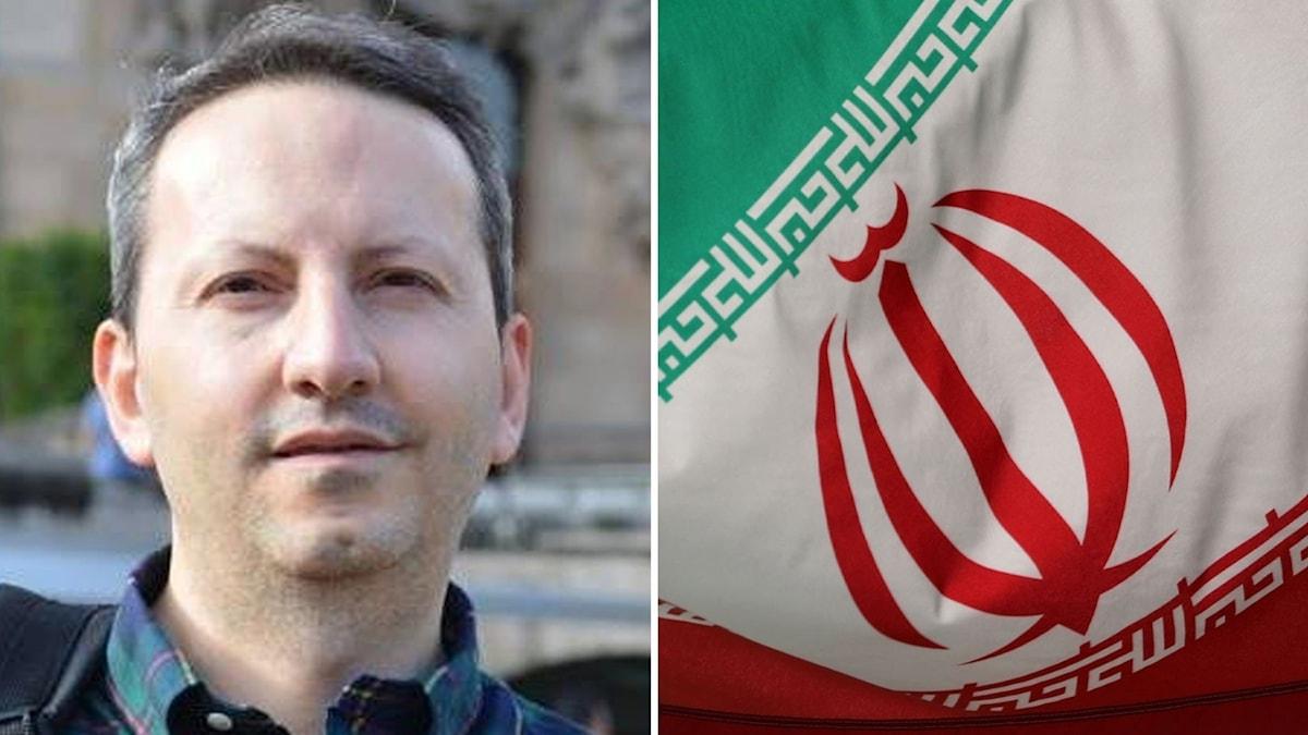Ahmadreza Djalali och en iransk flagga