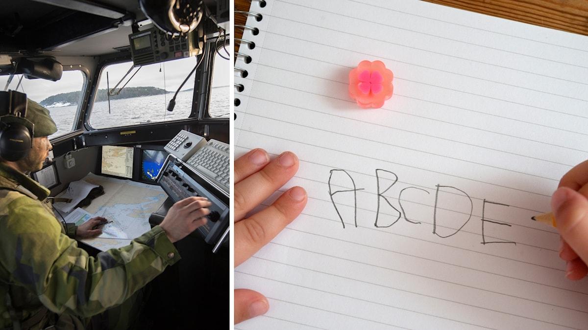 En militär vid datorer och bokstäver på ett papper.