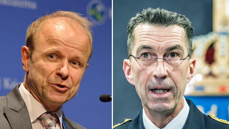 Mikael Oscarsson, försvarspolitisk talesperson Kristdemokraterna och Micael Bydén, överbefälhavare.