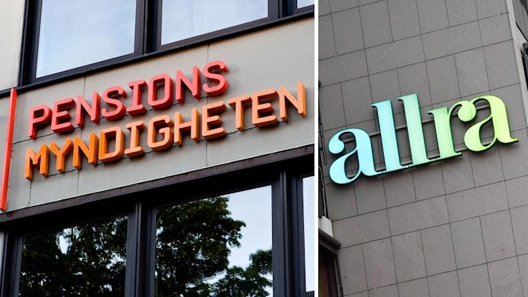 Delad bild: Pensionsmyndigheten-skylt, Allra-skylt.