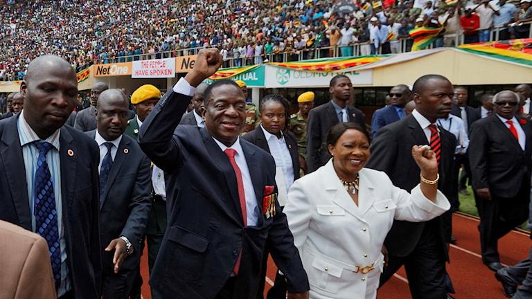 Emmerson Mnangagwa och hans fru Auxillia