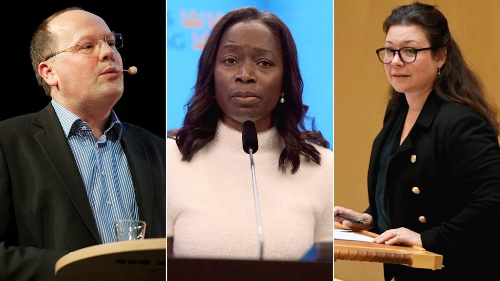 Torkild Strandberg, Nyamko Sabuni och Tina Acketoft.