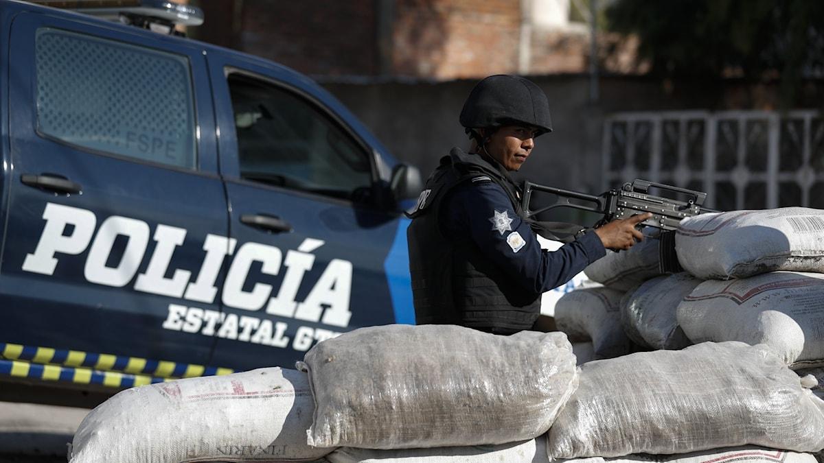 polis, sandsäckar, vapen