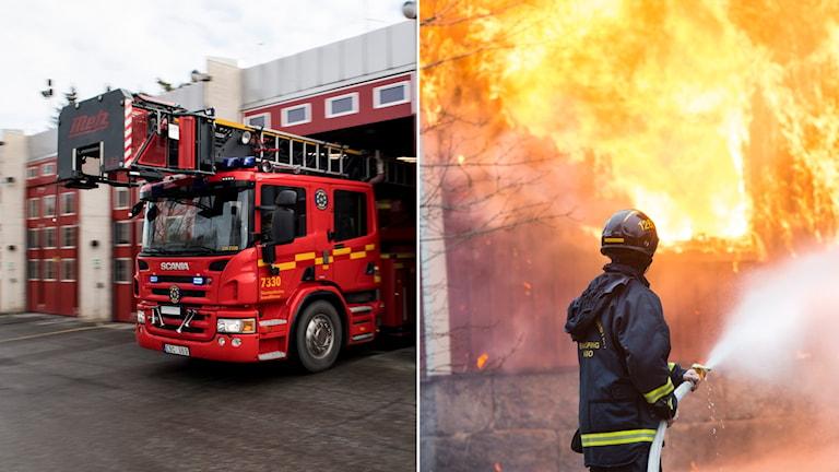 Brandstation och brandman som släcker brand vid övning