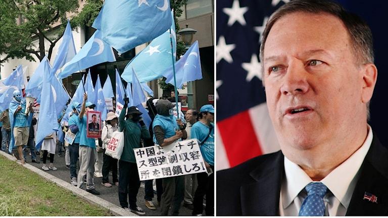 Över en miljon människor, de flesta muslimska uigurer, uppskattas ha tvångsinternerats i lägren i Xinjiang-provinsen i västra Kina. Lägren har mött kritik från omvärlden, däribland Sverige, men särskilt från USA och utrikesminister Mike Pompeo.