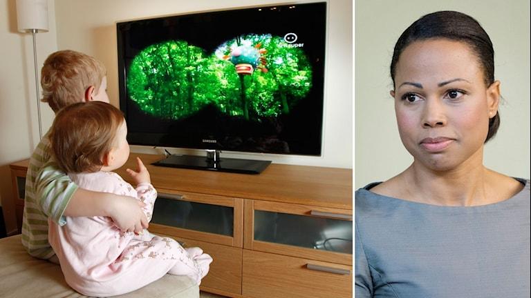 Tvådelad bild: Två små barn sitter och kollar på tv och en porträttbild på Alice Bah Kuhnke i grå tröja