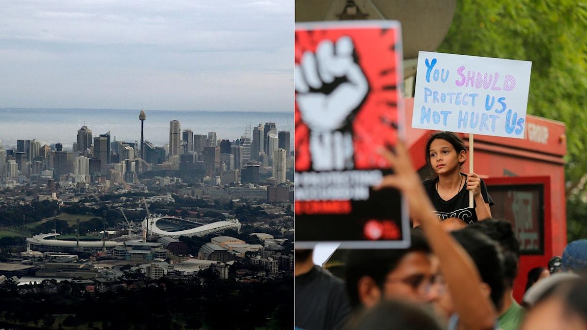 Tvådelad bild. Vänster är staden Sydney och till höger en ung tjej som protesterar mot våldtäkter i Indien.