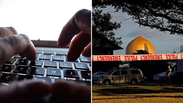 Tvådelad bild: Händer över tangentbord, Polisavspärrningar framför moské.