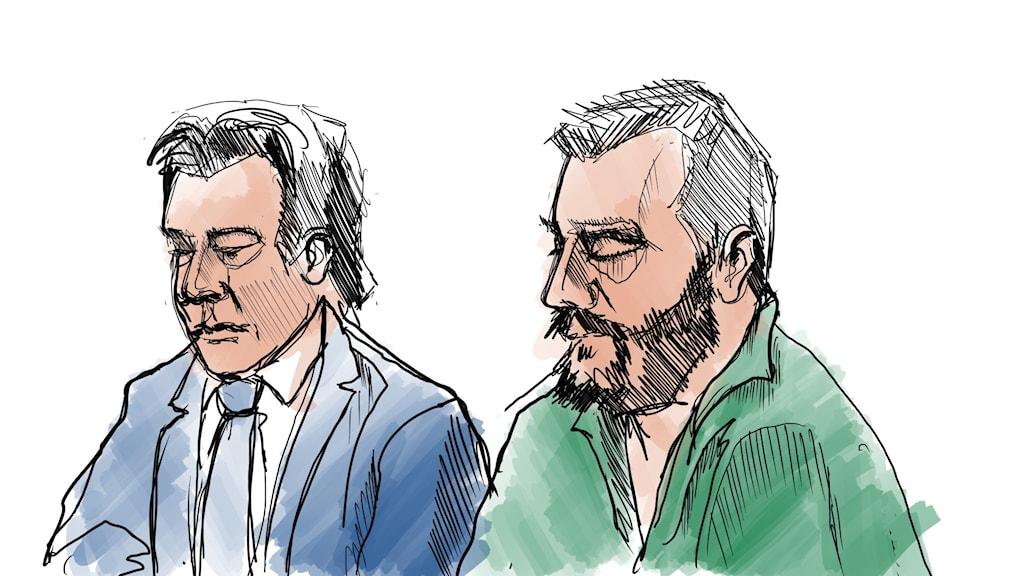 Teckning från rättegången. Den åtalade och han försvarsadvokat.